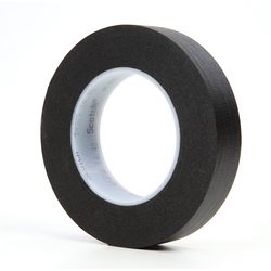 3M™ 021200-02840 Photographic Tape, 60 yd L x 1 in W, 7 mil THK, Rubber Adhesive, Crepe Paper Backing, Black