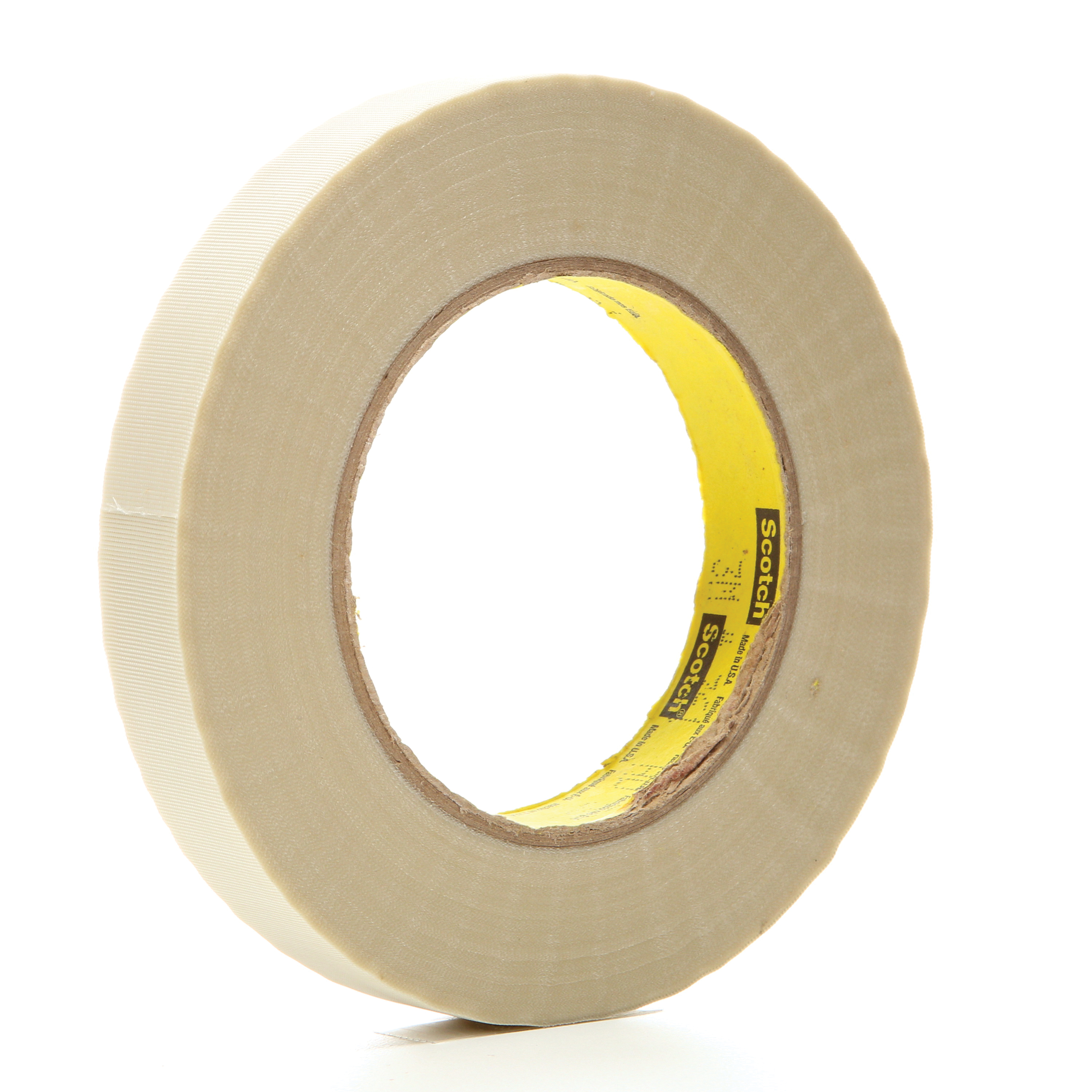 3M™ 021200-03016 Cloth Tape, 60 yd L x 3/4 in W, 6.4 mil THK, Silicone Adhesive, Glass Cloth Backing, White