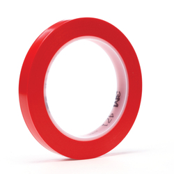 3M™ 021200-03105 471 High Performance Marking Tape, 1/2 in W x 36 yd Roll L, 5.2 mil THK, Red
