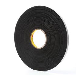 3M™ 021200-03307 Single Coated Foam Tape, 36 yd L x 1/2 in W, 62 mil THK, Acrylic Adhesive, Vinyl Foam Backing, Black