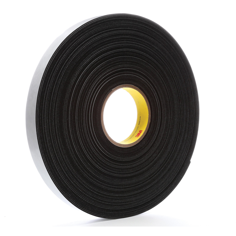 3M™ 021200-03309 Single Coated Foam Tape, 36 yd L x 1 in W, 62 mil THK, Acrylic Adhesive, Vinyl Foam Backing, Black