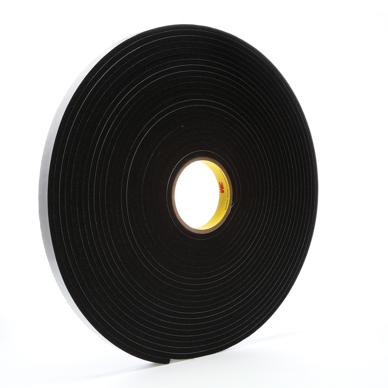 3M™ 021200-03319 4504 Single Coated Foam Tape, 3/4 in W x 18 yd Roll L, 250 mil THK, Black