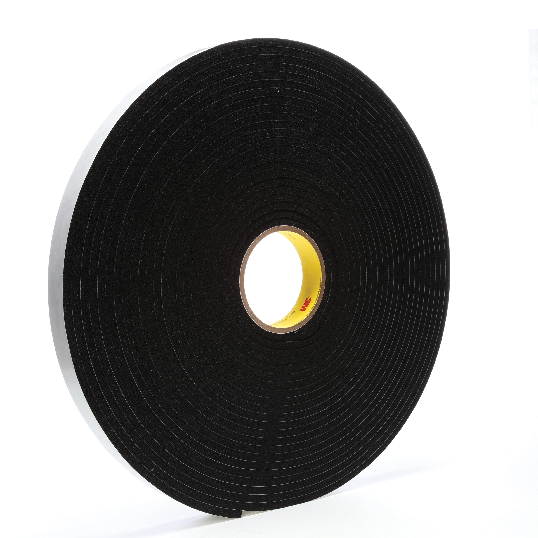 3M™ 021200-03320 4504 Single Coated Foam Tape, 1 in W x 18 yd Roll L, 250 mil THK, Black