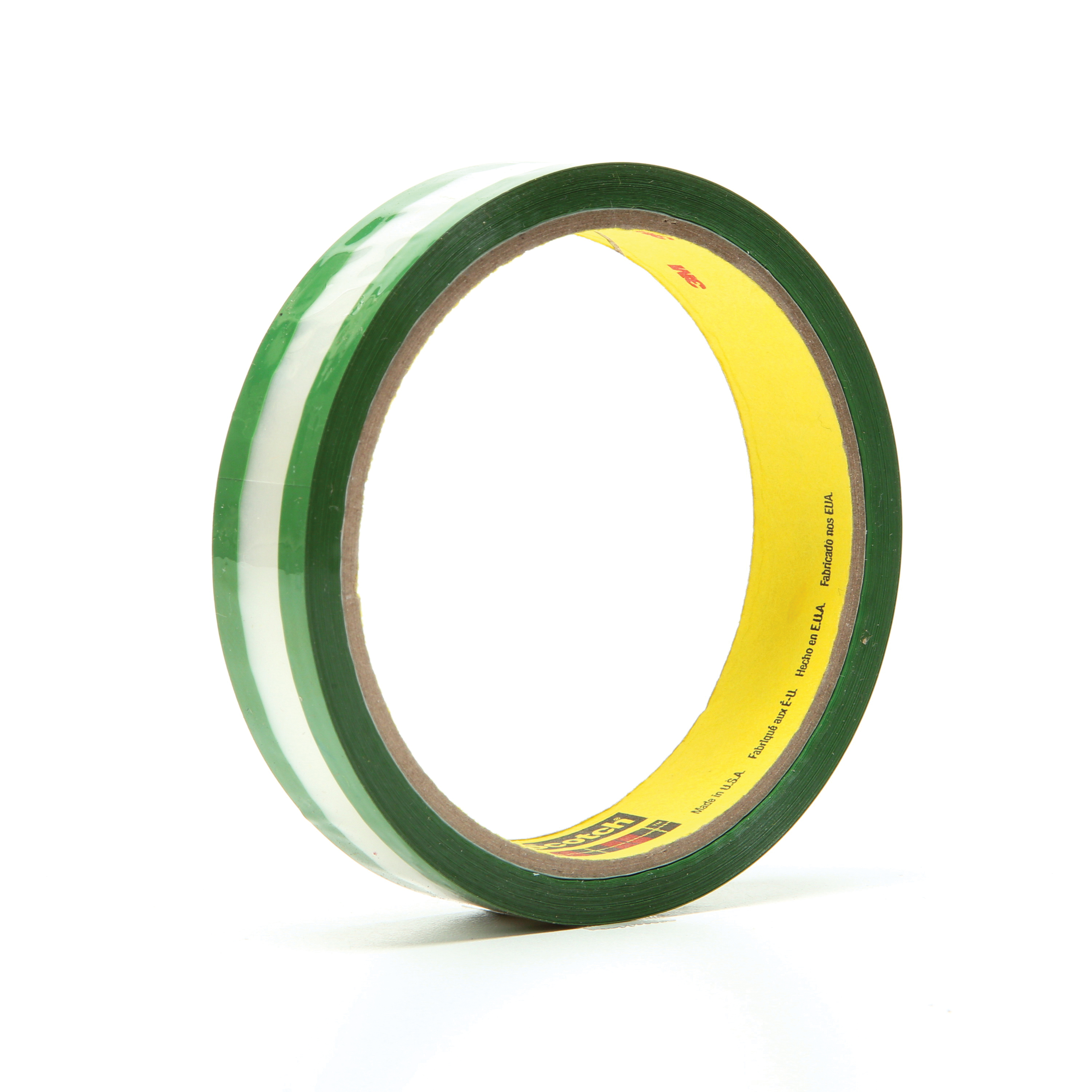 3M™ 021200-03507 Riveters Film Tape, 36 yd L x 3/4 in W, 1.7 mil THK, Rubber Adhesive, 1 mil Transparent Polyester Backing, Green