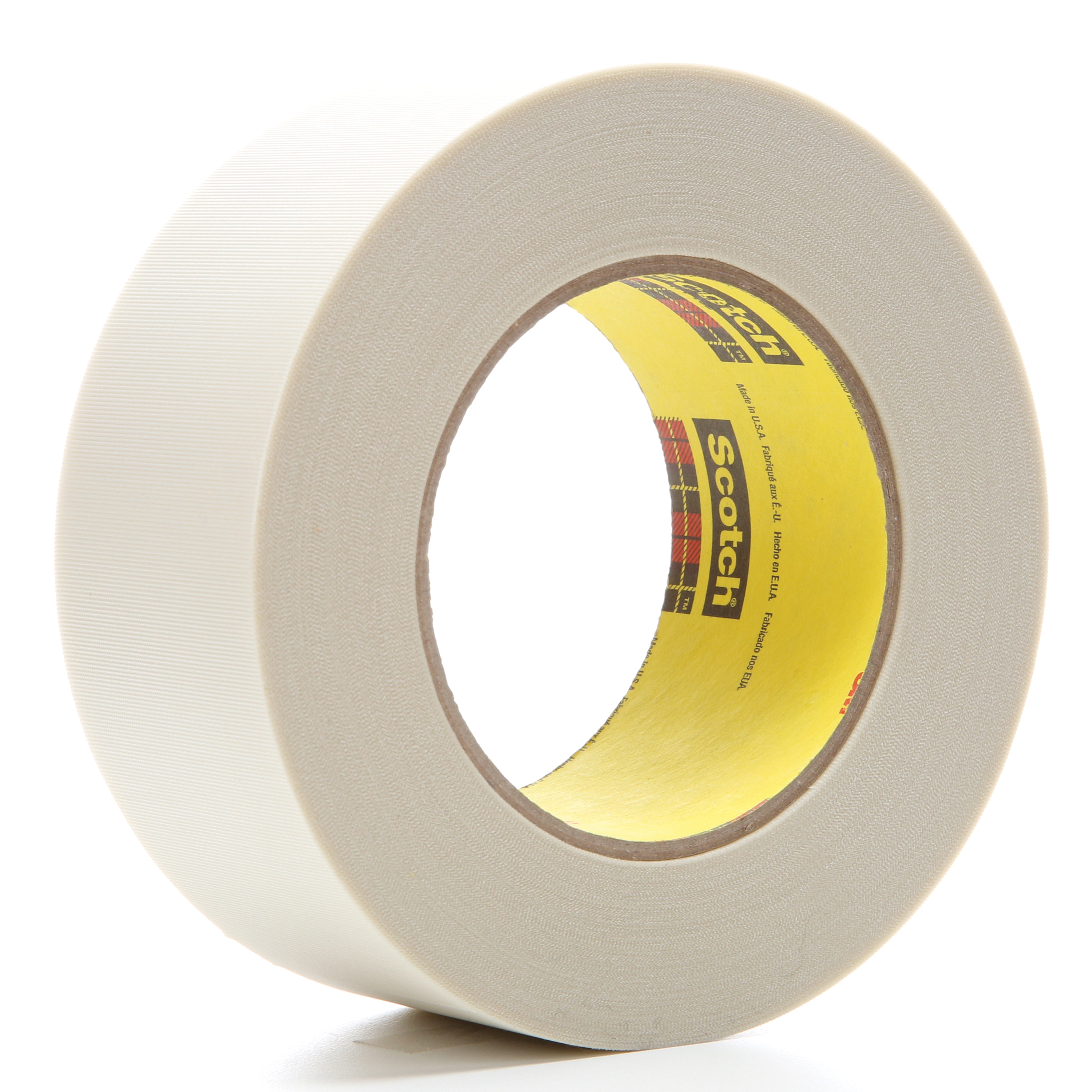 3M™ 021200-04275 Cloth Tape, 60 yd L x 2 in W, 6.4 mil THK, Silicone Adhesive, Glass Cloth Backing, White