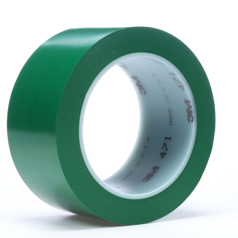 3M™ 021200-04313 471 High Performance Marking Tape, 2 in W x 36 yd Roll L, 5.2 mil THK, Green