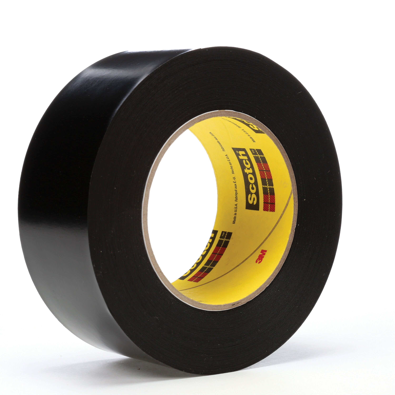 3M™ 021200-04316 Heavy Duty Vinyl Tape, 36 yd L x 2 in W, 10.4 mil THK, Rubber Adhesive, Vinyl Backing, Black