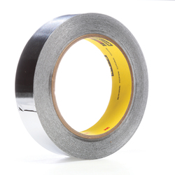 3M™ 021200-05674 Premium Performance Self-Wound Foil Tape, 60 yd L x 1 in W, 3.6 mil THK, Easy Release Film Liner, Silicone Adhesive, 2 mil Aluminum Foil Backing, Silver