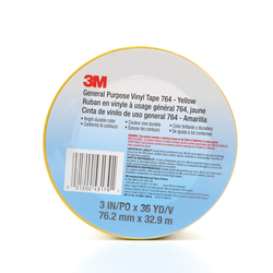3M™ 021200-43179 General Purpose Vinyl Tape, 36 yd L x 3 in W, 5 mil THK, Rubber Adhesive, Polyvinyl Chloride Backing, Yellow