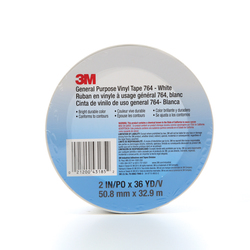 3M™ 021200-43185 General Purpose Vinyl Tape, 36 yd L x 2 in W, 5 mil THK, Rubber Adhesive, Polyvinyl Chloride Backing, White