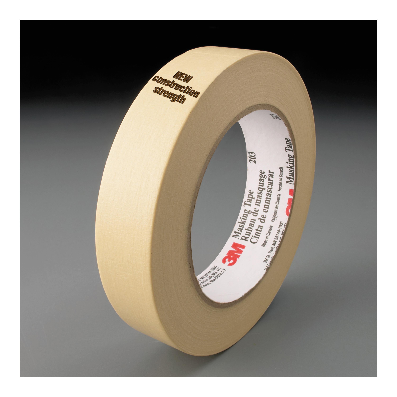 3M™ 048011-58038 General Purpose Masking Tape, 55 m L x 48 mm W, 4.7 mil THK, Natural Rubber Adhesive, Crepe Paper Backing