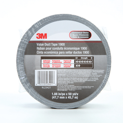 3M™ 051115-23421 General Purpose Value Level Duct Tape, 50 yd L x 1.88 in W, 5.8 mil THK, Synthetic Rubber Adhesive, Polyethylene Over Cloth Scrim Backing, Silver