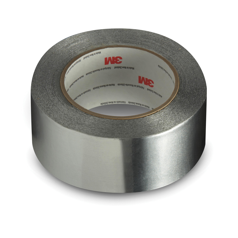 3M™ 051115-31872 General Purpose Foil Tape, 49.21 yd L x 3.89 in W, 3 mil THK, Natural Kraft Paper Liner, Acrylic Adhesive, 1.4 mil Aluminum Foil Backing, Silver