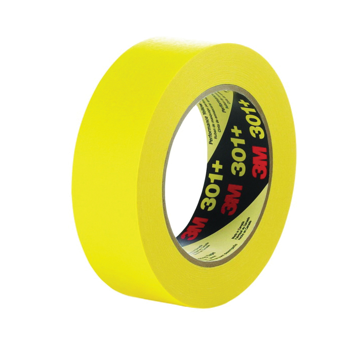 3M™ 051115-64753 Performance Solvent-Free Masking Tape, 55 m L x 96 mm W, 6.3 mil THK, Natural/Synthetic Rubber Adhesive, Crepe Paper Backing