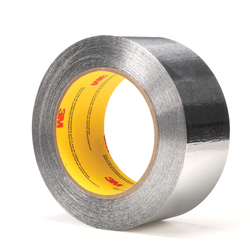 3M™ 051125-65856 General Purpose Self-Wound Foil Tape, 60 yd L x 2 in W, 4.5 mil THK, Acrylic Adhesive, 2.8 mil Aluminum Foil Backing, Silver