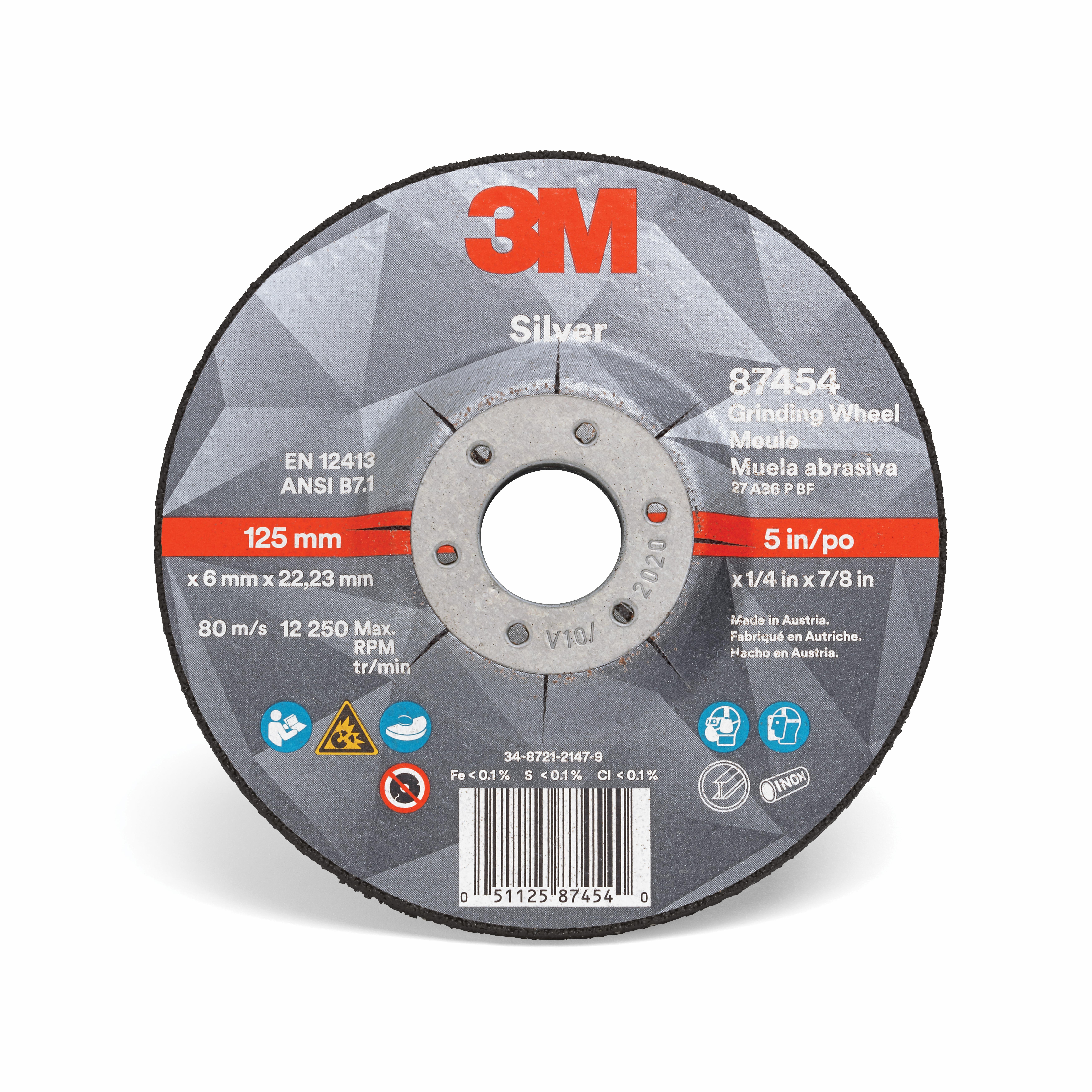3M™ 051125-87454 Silver Depressed Center Wheel, 5 in Dia x 1/4 in THK, 7/8 in Center Hole, 36 Grit, Ceramic Grain Abrasive