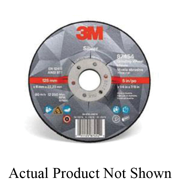 3M™ Silver 051125-87470 Depressed Center Wheel, 6 in Dia x 0.045 in THK, 7/8 in Center Hole, Ceramic Grain Abrasive