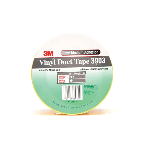 3M™ 051131-06982 General Purpose Duct Tape, 50 yd L x 2 in W, 6.5 mil THK, Rubber Adhesive, Embossed Vinyl Backing, Yellow