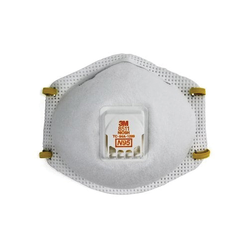 3M™ 051138-54343 Cup Style Disposable Particulate Respirator With Cool Flow™ Exhalation Valve and Adjustable M-Nose Clip, Standard, Resists: Airborne Biological Particles, Certain Oil, Non-Oil Based Particles, Dust and other Particles