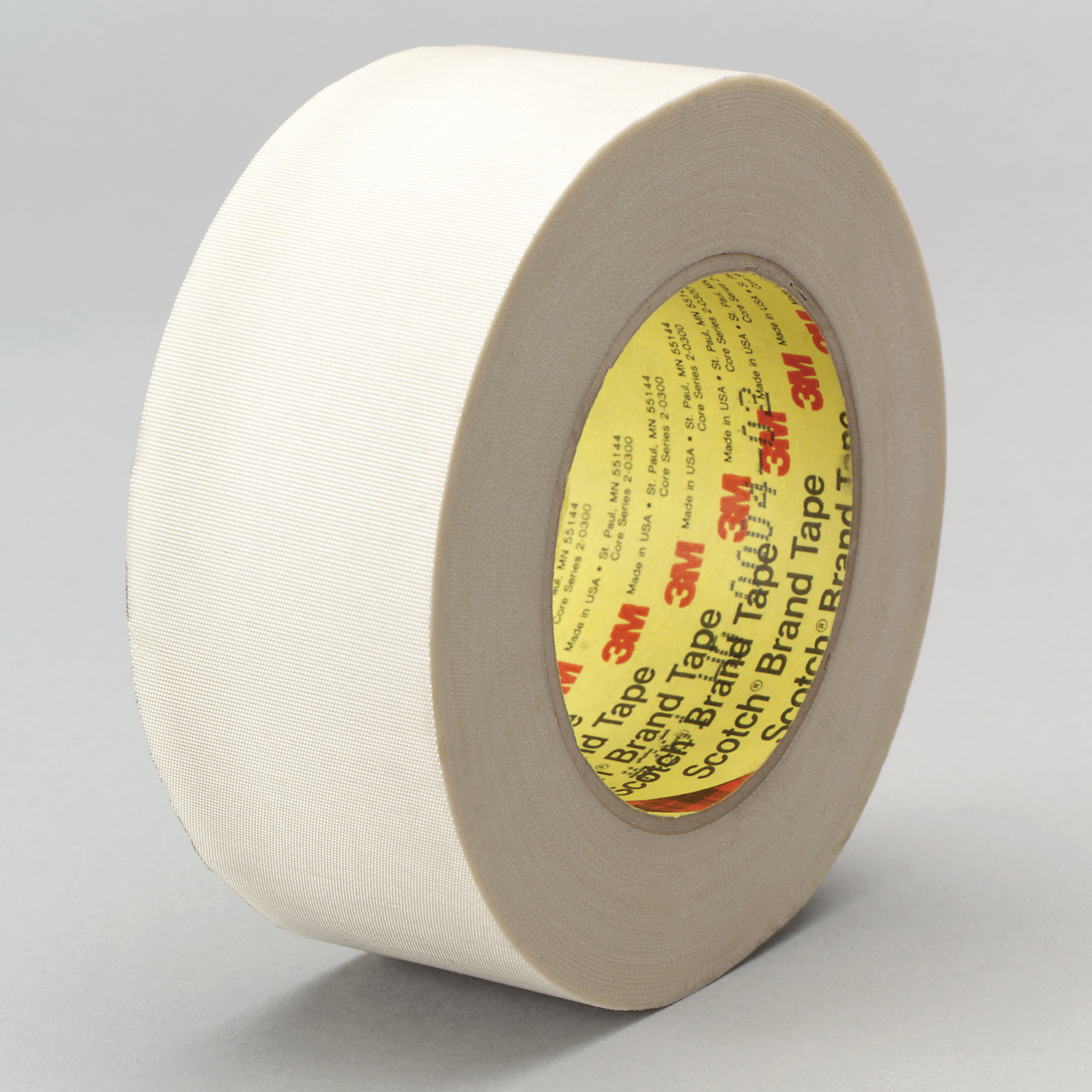 3M™ 021200-05513 Cloth Tape, 60 yd L x 1-1/2 in W, 6.4 mil THK, Silicone Adhesive, Glass Cloth Backing, White