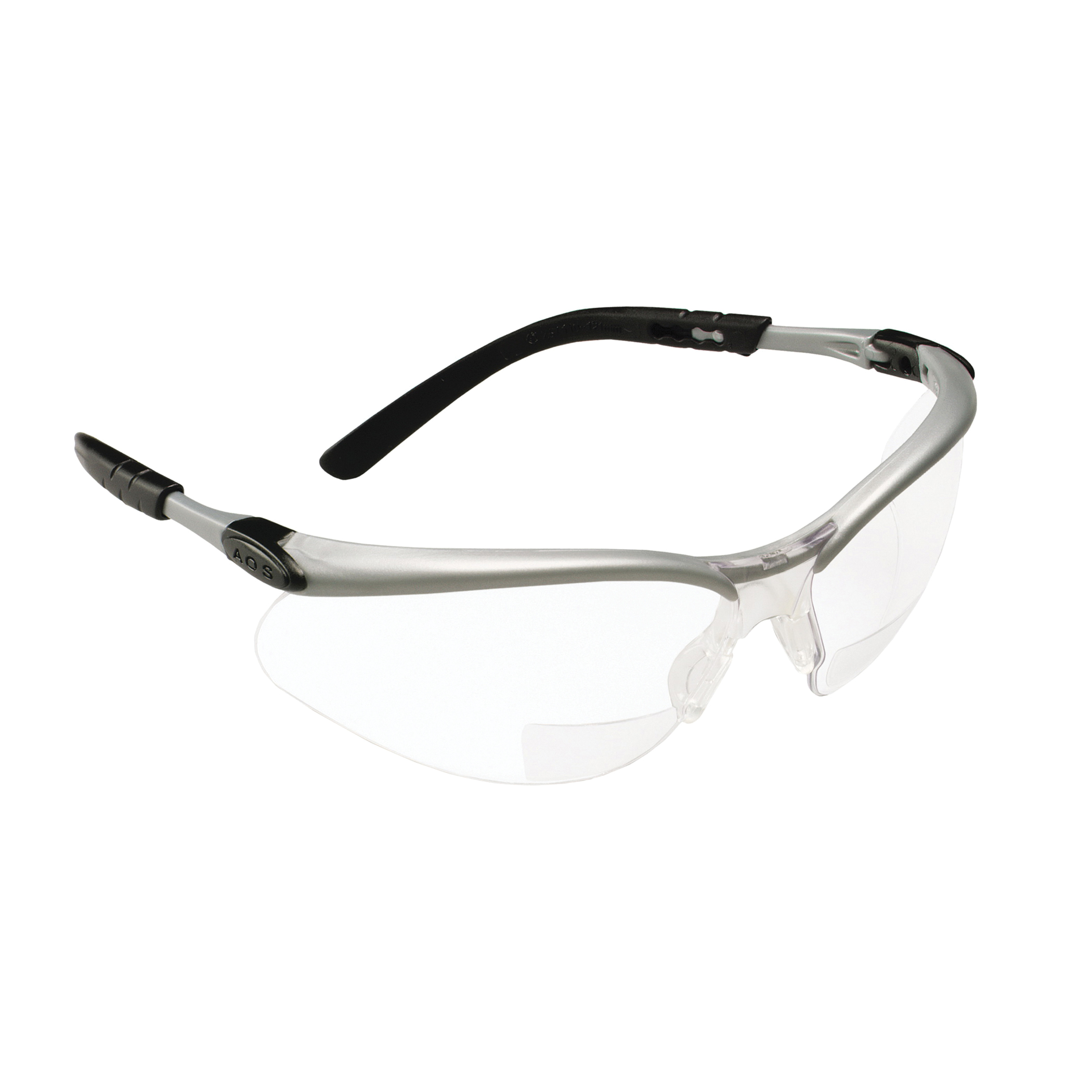 3M™ BX™ 078371-62047 11375-00000-20 Bi-Focal Lens Lightweight Reader Protective Eyewear, 2 Diopter, Clear Lens, Black/Silver Plastic Frame, Polycarbonate Lens, 99.9% UV Protection, Specifications Met: ANSI Z87.1-2015, CSA Z94.3-2007