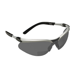 3M™ BX™ 078371-62050 11378-00000-20 Bi-Focal Lens Lightweight Reader Protective Eyewear, 2 Diopter, Gray Lens, Black/Silver Plastic Frame, Polycarbonate Lens, 99.9% UV Protection, Specifications Met: ANSI Z87.1-2015, CSA Z94.3-2007
