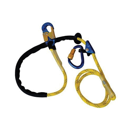 3M DBI-SALA Fall Protection 1234071 Adjustable Rope Positioning Lanyard With Aluminum Carabiner/Snap Hook, 310 lb Load Capacity, 8 ft L, Kernmantle Rope Line, 1 Legs, Snap Hook/Carabineer Harness Connection Hook
