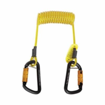 3M DBI-SALA Fall Protection 1500064 Python Safety® Hook2Hook Coil Tether, 5 lb Load, 62 in L, Vinyl Line, 1 Legs, Self-Locking Aluminum Carabiner Harness Connection Hook