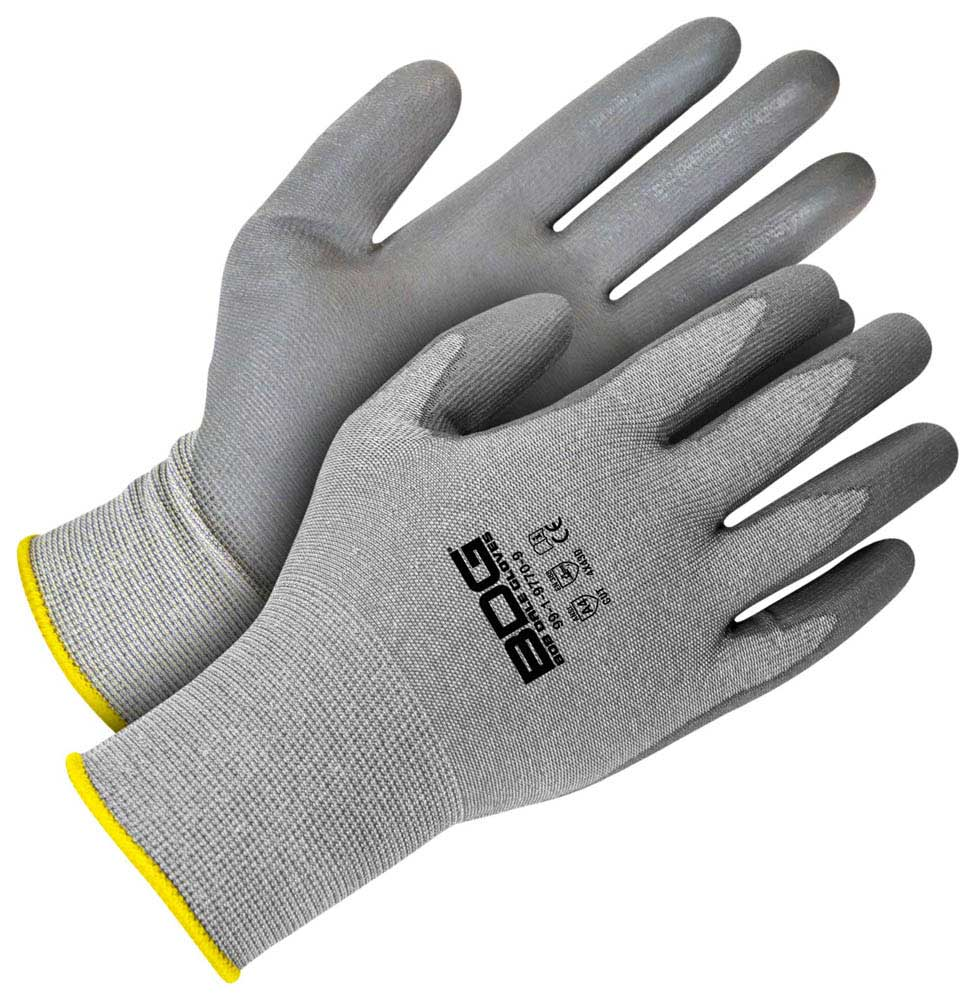 Grey 18G Cut Resistant Seamless Knit HPPE with Grey PU Palm