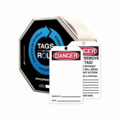 Accuform® TAR412 Tags By-The-Roll™ Danger Tag, 6-1/4 in H x 3 in W, Black on White/Red, 3/8 in Hole, PF-Cardstock