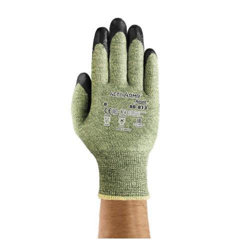 ActivArmr® PowerFlex® 206492 80-813 Medium Duty Cut-Resistant Gloves, SZ 10, Neoprene Foam Palm, Black/Green, DuPont™ Kevlar®/Glass Fiber/Modacrylic