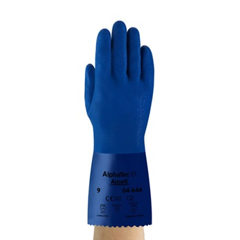 AlphaTec® 04-644 PVC Chemical Resistant Glove, Size 10 (XL), 12 in, Blue