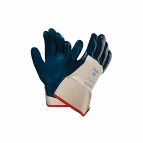 Ansell Hycron® 27-607-10 Heavy Duty General Purpose Gloves, Coated, L/SZ 10, Nitrile Palm, Nitrile, Blue/White, Safety Cuff, Dipped Nitrile Coating, Resists: Abrasion and Cut, Cotton Jersey Lining, Full Finger