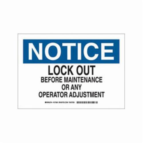 10 Height Black and Blue on White Brady 127582 Lockout//Tagout Sign 14 Width LegendLock Out Before Maintenance Or Any Operator Adjustment