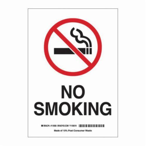 Brady® 25120 Rectangle No Smoking Sign, No Header, 14 in H x 10 in W, Black/Red on white, B-401 Plastic, Surface Mounting