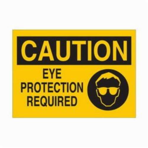 Brady® 25892 Rectangle Eye Protection Sign, CAUTION, 10 in H x 14 in W, Black on Yellow, B-401 Plastic, Surface Mounting