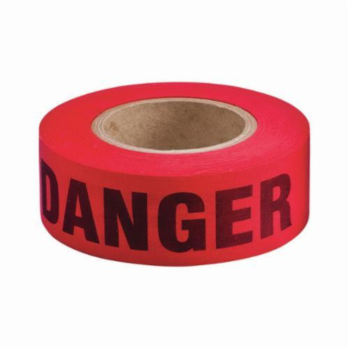 Brady® 91086 Bio-Degradable Repulpable Woven Barricade Tape, Black on Red, 2 in W x 50 yd L, Danger, Cotton/Woven