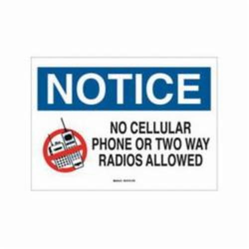 Brady® 95501 Rectangle No Cellular Sign, NOTICE, 10 in H x