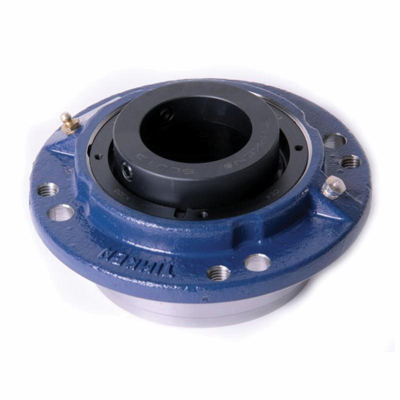 Carlisle® QMCW13J207ST EC Series Non-Expansion T Seal Solid Block Spherical Roller Bearing Housed Unit, 2-7/16 in Dia Bore, 4.6 in L Bolt Center-to-Center, 6-1/2 in Dia Bolt Circle, Four-Bolt Piloted Flange Mount, 7.63 in OAL/Dia