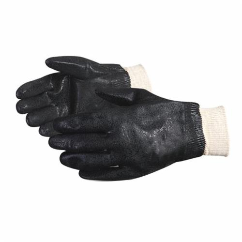 Chemstop™ FB200K Double Dipped Chemical Resistant Gloves, Universal, PVC/Thermoplastic Polymer, Black, Fleece/Jersey Lining, Resists: Abrasion, Acid, Caustic, Chemical, Greases, Oil, Oxidation, Ozone, Puncture and Solvent, Knit Wrist Cuff