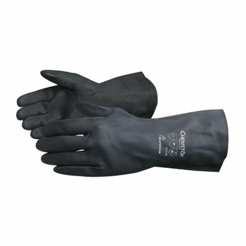 Chemstop™ NE3030-10 Economy Grade Heavy Duty Chemical Resistant Gloves, SZ 10, DuPont™ Neoprene, Black, Flock Lined Lining, 12 in L, Unsupported Support, 30 mil THK