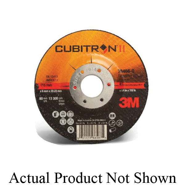Cubitron™ II 076308-64315 Depressed Center Wheel, 7 in Dia x 1/4 in THK, 7/8 in Center Hole, 36+ Grit, Ceramic Aluminum Oxide Abrasive