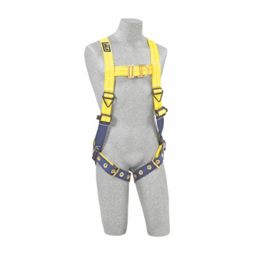 3M DBI-SALA Fall Protection 1107800 Delta™ Harness, L, 420 lb Load, Repel™ Polyester Strap, Tongue Leg Strap Buckle, Quick-Connect Chest Strap Buckle, Navy/Yellow