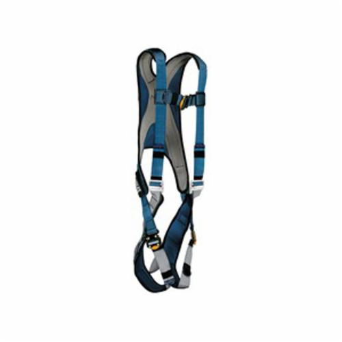 3M DBI-SALA Fall Protection 1107977C ExoFit™ Harness, L, 420 lb Load, Polyester Strap, Quick-Connect Leg Strap Buckle, Quick-Connect Chest Strap Buckle, Steel Leg Buckle/Steel/Steel Torso Buckle Hardware, Blue/Gray