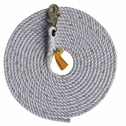 3M DBI-SALA Fall Protection 1202844C Vertical Rope Lifeline With Anchor Hook, 310 lb Load Capacity, 100 ft L, Specifications Met: ANSI Z359, OSHA Approved
