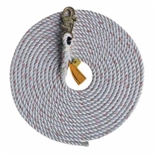 3M DBI-SALA Fall Protection 1202879C Vertical Rope Lifeline With Anchor Hook, 310 lb Load Capacity, 150 ft L, Specifications Met: OSHA 1910.66, OSHA 1926.502