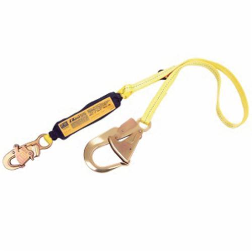 3M DBI-SALA Fall Protection 1220034C EZ-Stop™ Lightweight Shock Absorbing Lanyard, 100 to 254 lb Load Capacity, 4 ft L, Polyester Webbing Line, 1 Legs, Snap Hook Anchorage Connection, Snap Hook Harness Connection Hook