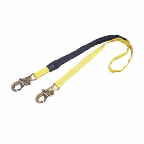 3M DBI-SALA Fall Protection 1240006C Fixed Shock Absorbing Lanyard, 130 to 310 lb Load Capacity, 6 ft L, Polyester Line, 1 Legs, Snap Hook Anchorage Connection, Snap Hook Harness Connection Hook, Specifications Met: ANSI Specified, OSHA Approved