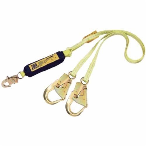 3M DBI-SALA Fall Protection 1240416C EZ-Stop™ Lightweight Tie-Off Shock Absorbing Lanyard, 130 to 310 lb Load Capacity, 6 ft L, Polyester Webbing Line, 2 Legs, Rebar Hook Anchorage Connection, Snap Hook Harness Connection Hook