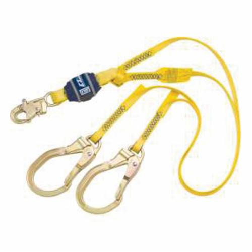 3M DBI-SALA Fall Protection 1246024C EZ-Stop™ Fixed Shock Absorbing Lanyard, 130 to 310 lb Load Capacity, 6 ft L, Polyester Line, 2 Legs, Rebar Hook Anchorage Connection, Snap Hook Harness Connection Hook, Specifications Met: OSHA 1910.66, OSHA 1926.502